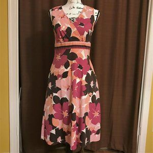 Pink and brown floral dress with pockets